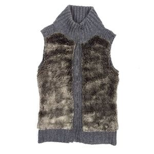 Guess Faux Fur Zip Front Sweater Vest